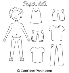 Paper doll boy and clothes coloring book cartoon doodle hand...