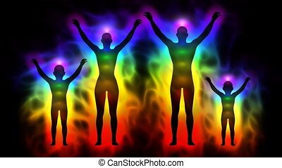 Aura and chakras - family - Animation silhouette of family...