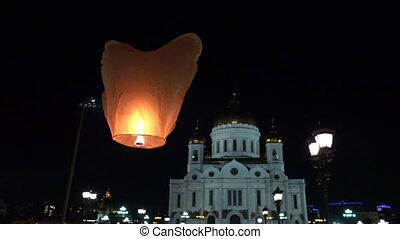 Sky a lantern - Sky lanterns on a background of Christ the...