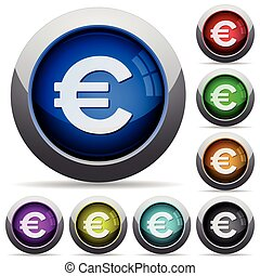 Euro sign button set - Set of round glossy Euro sign...