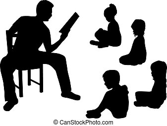 Reading a book to children.