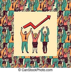 Best business team color card grow arrow