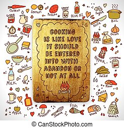 Chopping board cooking objects and sign