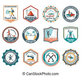 Expedition Emblems Set - Desert jungle and mountain...