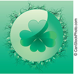 Glass clover button for St Patrick`s day, vector...