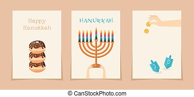 Jewish holiday hanukkah three cards