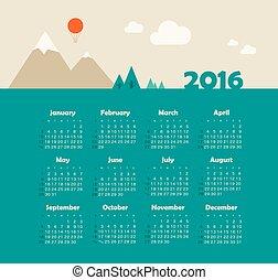 semana, Comienzos, domingo, calendario,  2016, Montaña