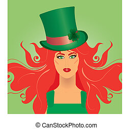 Irish girl in green top-hat for St Patrick`s day, vector...