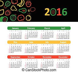 Calendar for 2016 with fruit. Week Starts Sunday.