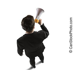 Speak with megaphone - Businessman speaks and shares...