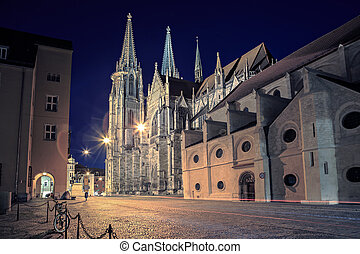 Regensburg - Cathedral view by night in Regensburg, Bavaria,...