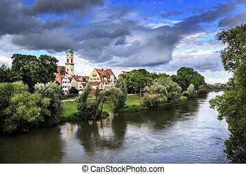 Regensburg - Danube river bank in Regensburg, Bavaria,...