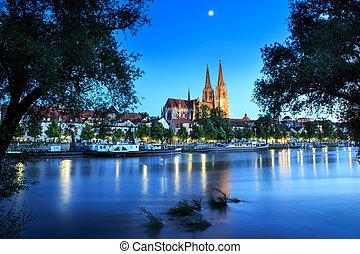 Regensburg - Cathedral view over Danube river in Regensburg,...