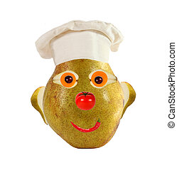 Creative food concept. Funny portrait of a cook, made of...