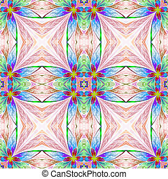 Symmetrical multicolored flower pattern in stained-glass...