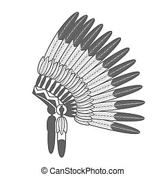 Native American Feathered War Bonnet - Native American...