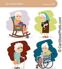 Grandmother cartoon character. Elderly woman in rocking...