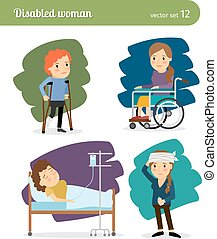 Disabled woman characters - Disabled woman and ill woman...