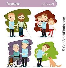 Young volunteer characters - Young man volunteer cartoon...