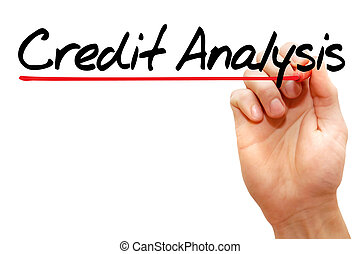 Credit Analysis - Hand writing Credit Analysis with marker,...