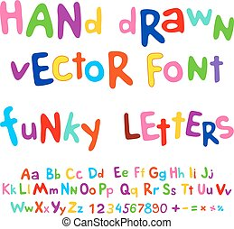 Hand-drawn vector alphabet. funky letters font