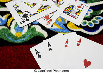 Cards on a table,Poker,leisure game