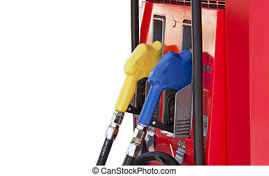 Fuel pump in the gas station on white background and spacing for caption