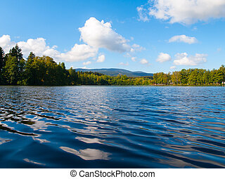 Babylon Pond and Cerchov Mountain in Bohemian Forest, Czech...