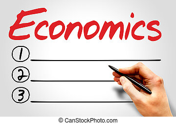 ECONOMICS blank list, business concept
