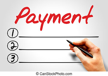 PAYMENT blank list, business concept