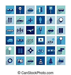 Collection of modern shadow flat icon Traffic and transport...