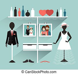 Wedding Clothing store Boutique indoor Flat design vector...