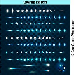 Big set of lighting isolated effects Magic, bright stars -...