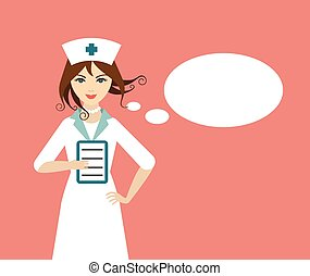 Beautiful young nurse with talking baloon. Flat design.