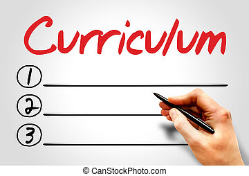 CURRICULUM blank list, education concept