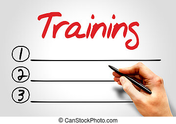 TRAINING blank list, education concept
