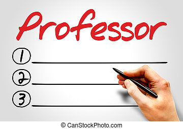Professor blank list, education concept