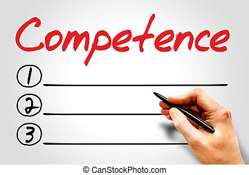 COMPETENCE blank list, education concept