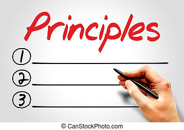 Principles blank list, business concept