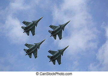 Four russian fighters in the sky