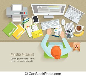 Accounter Workplace Flat - Accounter top view workplace with...