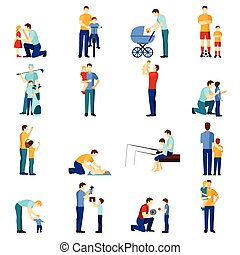 Fatherhood icons set - Fatherhood flat icons set with father...