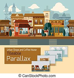 Shops Tileable Parallax - Shops tileable parallax with...
