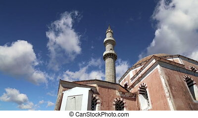 Mosque in Old Town, Rhodes, Greece (time lapse)