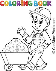 Coloring book construction worker 1