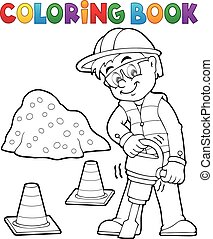 Coloring book construction worker 3 - eps10 vector...