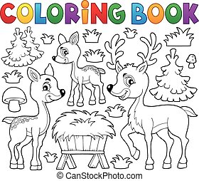 Coloring book deer theme 1 - eps10 vector illustration