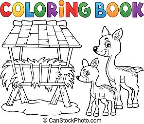 Coloring book deer theme 3 - eps10 vector illustration