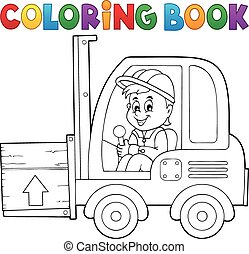 Coloring book fork lift truck theme 1