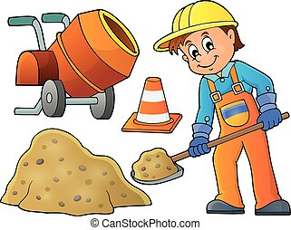 Construction worker theme image 5 - eps10 vector...